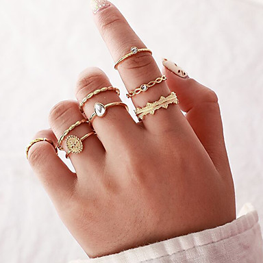 お買い得  リングセット-女性用 指輪 リングセット 8個入り ゴールド 合金 不規則型 クラシック ヴィンテージ トレンディー 贈り物 日常 ジュエリー クラシック 洋ナシ型