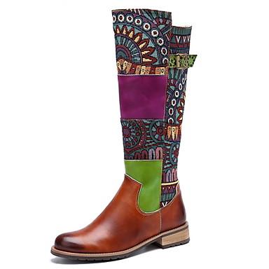 levne Dámská obuv-Dámské Boty Ke kolenům Nízký podpatek Oblá špička Kůže Ke kolenům Podzim zima Zelená