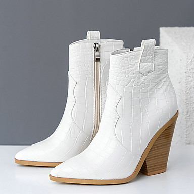 preiswerte Schuhe und Taschen-Damen Stiefel Cowboy / Western Boots Blockabsatz Spitze Zehe PU Mittelhohe Stiefel Herbst Winter Schwarz / Braun / Weiß