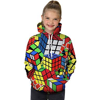cheap Girls' Hoodies & Sweatshirts-Kids Toddler Girls' Active Basic Rubik's Cube Geometric Color Block 3D Print Long Sleeve Hoodie & Sweatshirt Rainbow