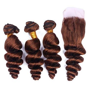 povoljno Ekstenzije od ljudske kose-3 paketi s zatvaranjem Brazilska kosa Valovita kosa Remy kosa Ekstenzije od ljudske kose Kosa potke zatvaranje 8-26 inch Smeđa Isprepliće ljudske kose Žene Novi Dolazak Rasprodaja Proširenja ljudske