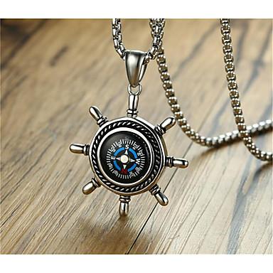 levne Pánské šperky-Pánské Náhrdelníky s přívěšky Geometrické Kotva Módní Titanová ocel Stříbrná 60 cm Náhrdelníky Šperky 1ks Pro Denní Práce