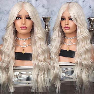Szintetikus csipke front parókák Hullámos haj Középső rész Csipke eleje Paróka Szőke Hosszú Szőke Szintetikus haj 18-26 hüvelyk Női Hőálló szintetikus Egyszerű öntettel Szőke