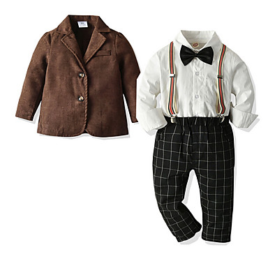cheap Boys' Clothing-Kids Boys' Basic Check Long Sleeve Clothing Set Brown