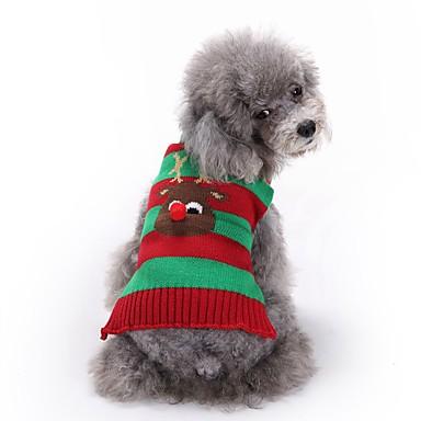 cheap Dog Clothing & Accessories-Dogs Sweater Winter Dog Clothes Black Green Red Costume Corgi Beagle Shiba Inu Acrylic Fibers Stripes Animal Reindeer Halloween Christmas XXS XS S M L XL