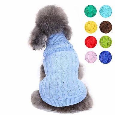 cheap Dog Clothes-Dog Sweater Solid Colored Simple Style Fashion Dog Clothes Yellow Red Light Green Costume Acrylic Fibers XS S M L