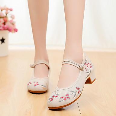 preiswerte Tanzschuhe-Damen Tanzschuhe Leinwand Schuhe für modern Dance Absätze Flacher Absatz Schwarz / Rot / Rosa