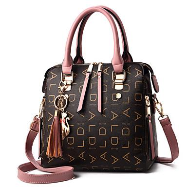 preiswerte Taschen-Damen Muster / Druck / Reißverschluss PU Tasche mit oberem Griff Blumenmuster Schwarz / Rosa / Rote