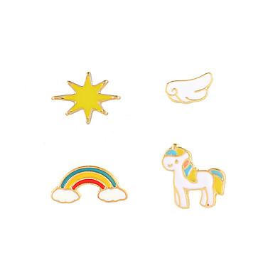 povoljno Modne naušnice-Žene Sitne naušnice Naušnica Naušnice Set neprilagođeno Konj Duga pomodan Korejski slatko Moda Slatka Style Naušnice Jewelry Obala / Plava / Pink Za diplomiranje Dnevno Prom Praznik Rad 4kom