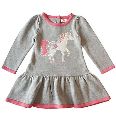 povoljno Odjeća za bebe-Dijete Djevojčice Aktivan Print Dugih rukava Haljina Svijetlosiva