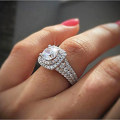 cheap Rings-Women's Ring Cubic Zirconia Synthetic Diamond 1pc White Gold Plated Gatsby Wedding Anniversary Jewelry Classic Pave Wedding