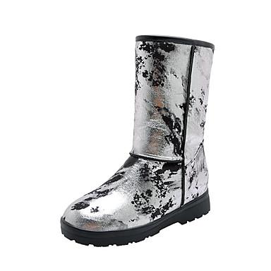 voordelige Dameslaarzen-Dames Laarzen Platte hak Ronde Teen PU Kuitlaarzen Informeel / Studentikoos Winter Wit / Zilver / Blauw / Kleurenblok