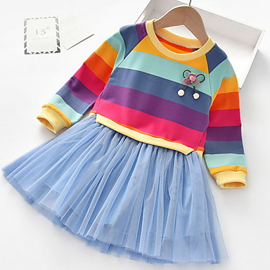 cheap Kids' New Arrivals-Kids Girls' Striped Dress Blushing Pink