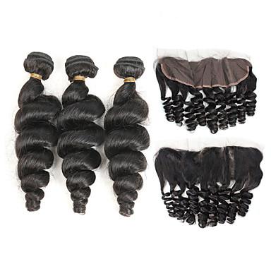 povoljno Ekstenzije od ljudske kose-3 paketi s zatvaranjem Brazilska kosa Valovita kosa Ljudska kosa Ekstenzije od ljudske kose Kosa potke zatvaranje 8-26 inch Crna Isprepliće ljudske kose Žene Novi Dolazak Rasprodaja Proširenja