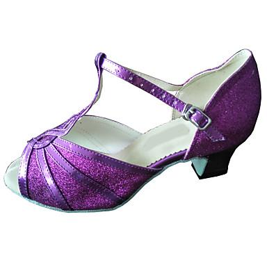 cheap New Arrivals-Women's Dance Shoes PU Latin Shoes Sparkling Glitter Heel Thick Heel Purple