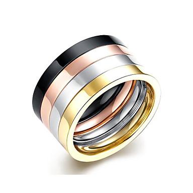 billige Motering-Par Ring 4stk Regnbue Titanium Stål Rund Stilfull Daglig Ferie Smykker Klassisk Regnbue Kul