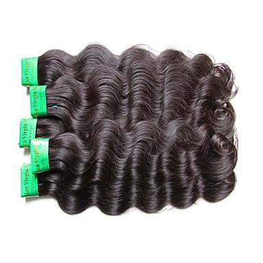 """povoljno Ekstenzije od ljudske kose-5 paketića Indijska kosa Tijelo Wave Virgin kosa Netretirana  ljudske kose Ljudske kose plete 10""""~30"""" Natural Isprepliće ljudske kose Prirodno Najbolja kvaliteta Za crnkinje Proširenja ljudske kose"""