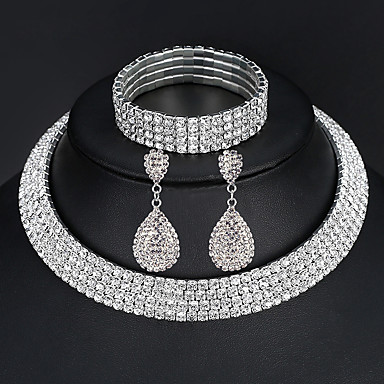 cheap Jewelry Sets-Women's Jewelry Set Bracelet Bangles Drop Earrings Pave European Fashion Elegant Italian everyday Iced Out Imitation Diamond Earrings Jewelry 2 Rows / 3 Rows / 4 Rows For Wedding Party Prom