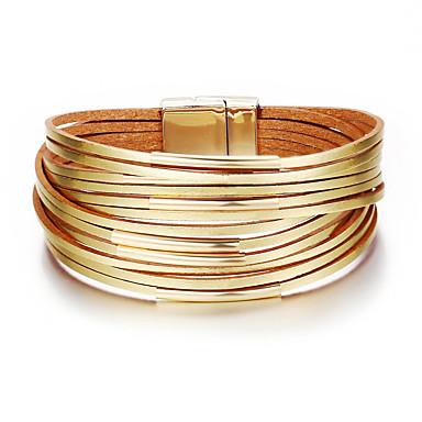 levne Pánské šperky-Pánské Dámské Kožené náramky Klasika Duhová Módní Lidová Style PU Náramek šperky Zlatá Pro Dar Denní Práce