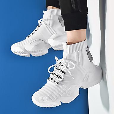 preiswerte Herrenschuhe-Herrn Komfort Schuhe Gitter Frühling / Herbst Freizeit Sneakers Walking Stoßdämpfend Slogan Schwarz / Schwarz und weiss / Weiß