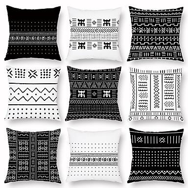 billige Putevar-sort og hvitt geometriske putevar lette sovesofaer med korsrygg