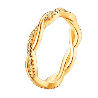 billige Motering-Dame Ring Kubisk Zirkonium 1pc Rose Gull Gull Sølv Strass Legering Rund Stilfull Enkel Elegant Daglig Ut på byen Smykker Klassisk Elegant Bølge