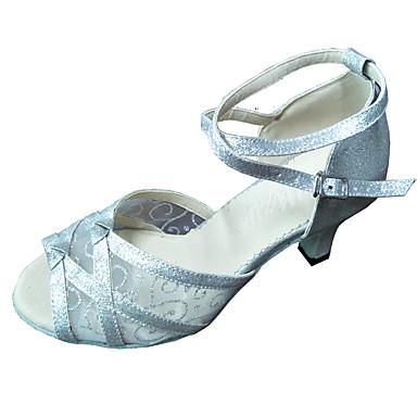 cheap New Arrivals-Women's Dance Shoes Mesh Latin Shoes Heel Cuban Heel Silver
