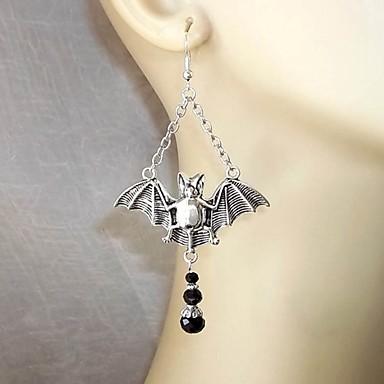 povoljno Modne naušnice-Žene Viseće naušnice 3D Šišmiš Naušnice Jewelry Srebro Za Halloween 1 par