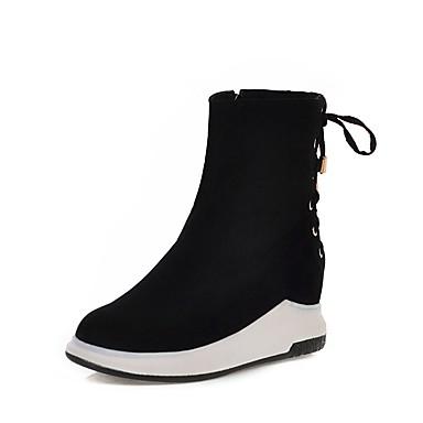 voordelige Dameslaarzen-Dames Laarzen Creepers Ronde Teen Suède Kuitlaarzen Studentikoos / minimalisme Lente & Herfst / Herfst winter Zwart / Bruin / Rood