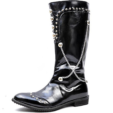 Férfi Fashion Boots Szintetikus Tél / Ősz & tél Alkalmi / Brit Csizmák Csúszásmentes Hosszú szárú csizmák Fekete / Party és Estélyi