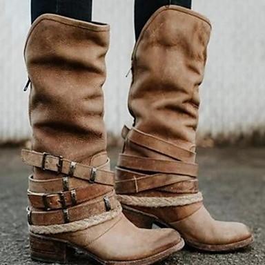 preiswerte Damenschuhe-Damen Stiefel Komfort Schuhe Flacher Absatz Runde Zehe PU Mittelhohe Stiefel Herbst Winter Schwarz / Braun