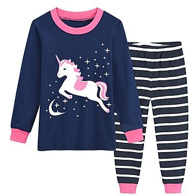 cheap Girls' Underwear & Socks-Kids Girls' Unicorn Print Sleepwear Navy Blue