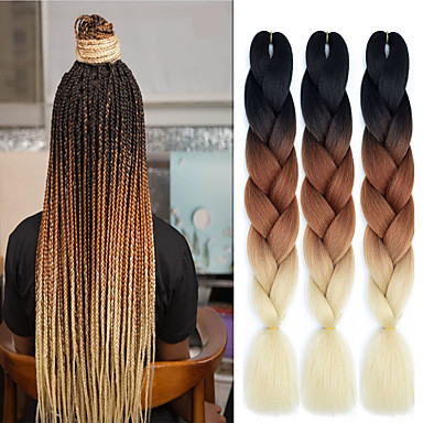 "cheap Hair Braids-Braiding Hair Straight Extension Twist Braids Afro Kinky Braids Synthetic Hair 3 Pieces Hair Braids Natural Color 24 inch 24"" Heat Resistant Synthetic 100% kanekalon hair Dailywear African Braids"
