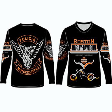 billige Motorsykkel & ATV tilbehør-boston harley davidson motociclistas motorsykkel klær skjorter topper jersey for unisex polyester / polyamid pustende / raskt tørr