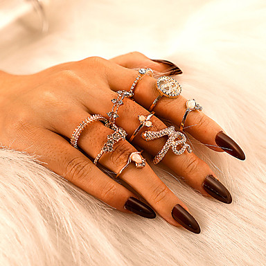 cheap Rings-Women's Ring Ring Set 9pcs Gold Rhinestone Alloy irregular Classic Vintage Trendy Gift Daily Jewelry Retro Snake Crown