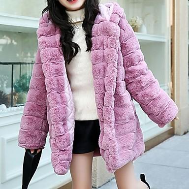 preiswerte Mode für Mädchen-Kinder Mädchen Grundlegend Solide Langarm Kunst-Pelz Jacke & Mantel Rosa