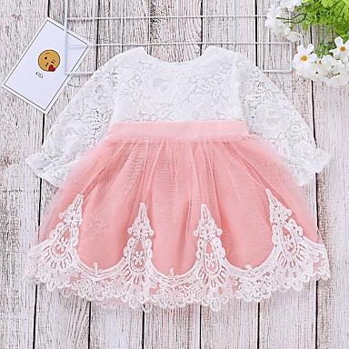 povoljno Odjeća za bebe-Dijete Djevojčice Aktivan Color block Čipka Dugih rukava Haljina Blushing Pink