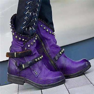 voordelige Dameslaarzen-Dames Laarzen Blok hiel Ronde Teen PU Kuitlaarzen Herfst winter Zwart / Paars / Groen