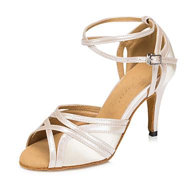 cheap New Arrivals-Women's Dance Shoes Satin Latin Shoes Splicing Heel Slim High Heel Customizable Black / Beige / Gray
