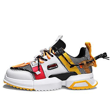 cheap Men's Sneakers-Men's Comfort Shoes Mesh / PU Spring / Fall & Winter Casual Sneakers Walking Shoes Shock Absorbing Color Block Black / White / Yellow / Rainbow