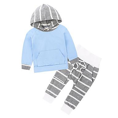povoljno Kompletići za dječake-Djeca Dječaci Osnovni Prugasti uzorak Dugih rukava Komplet odjeće Lila-roza