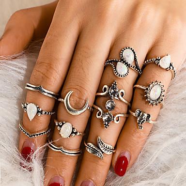 billige Motering-Dame Ring Ring Set 12pcs Sølv Legering Annerledes Vintage trendy Etnisk Gave Daglig Smykker Retro Elefant Pære