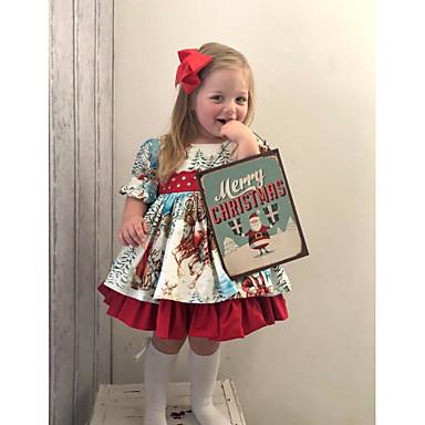 povoljno Odjeća za bebe-Dijete Djevojčice Boho Djed Mraz Geometrijski oblici Print Kratkih rukava Haljina Red