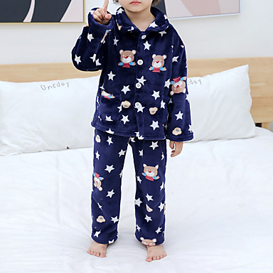 preiswerte Unterwäsche & Socken für Jungen Babys-2pcs Baby Jungen Druck Schnalle / Print / Grundlegend Schlafanzüge Marineblau