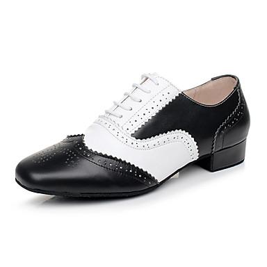preiswerte Standardtanzschuhe & Modern Dance Schuhe-Herrn Tanzschuhe Leder Schuhe für modern Dance Absätze Starke Ferse Maßfertigung Schwarz