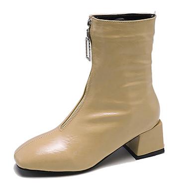 voordelige Dameslaarzen-Dames Laarzen Blokhak Vierkante Teen PU Kuitlaarzen minimalisme Herfst Zwart / Amandel