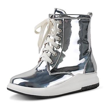 voordelige Dameslaarzen-Dames Laarzen Platte hak Ronde Teen Microvezel Korte laarsjes / Enkellaarsjes Informeel / minimalisme Winter Goud / Zilver / Fuchsia