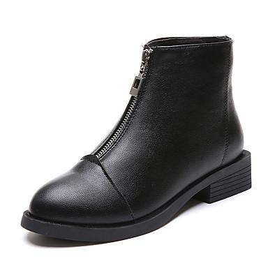 voordelige Dameslaarzen-Dames Laarzen Lage hak Gepuntte Teen PU Korte laarsjes / Enkellaarsjes Vintage / Studentikoos Herfst winter Zwart