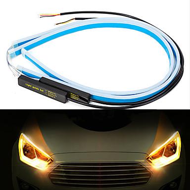 billige Billamper-2stk 45 cm universal bil drl led strip fleksibel flytende blinklys auto engelløyer kjørelampe dekorasjonslys på dagtid