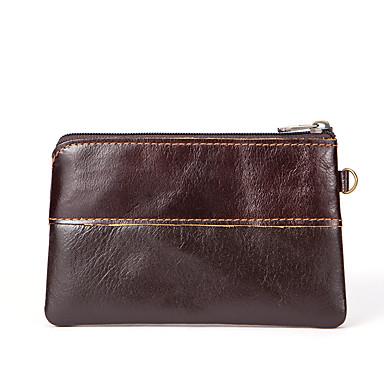 cheap Bags-Men's / Unisex Zipper Cowhide Coin Purse Solid Color Coffee